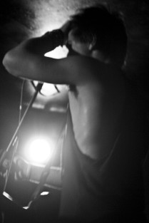 The Great british weather, rock band, lead singer, black and white photo, live performance, male, musician
